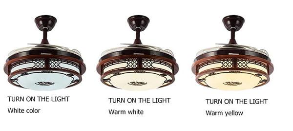 Quạt trần MFD-MPC03 có 3 màu sắc ánh đèn